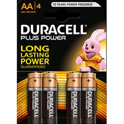 DURACELL Batterie Plus Power AA Stilo (Confezione da 4 Pz.)