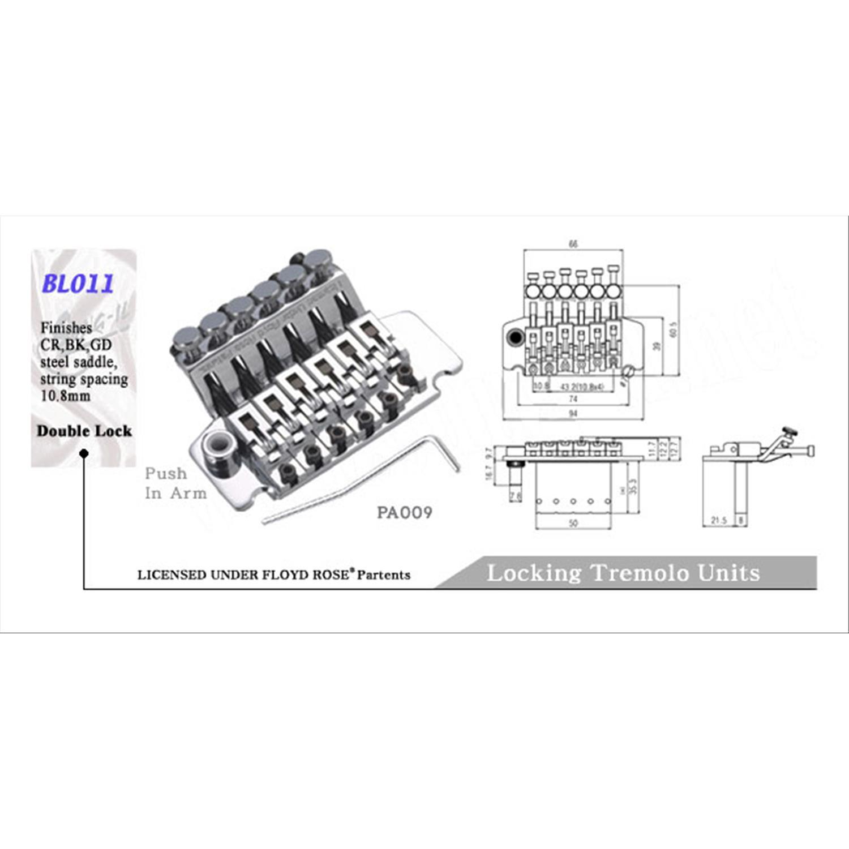 Line Parts Ponte Tremolo Su Licenza Floyd Rose Per Chitarra Diagram Elettrica Cromato
