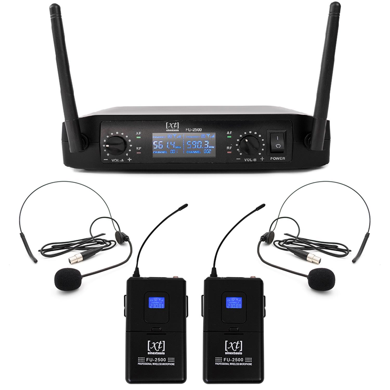 Radiomicrofono Professionale UHF Doppio Bodypack + Archetto + Lavalier 561.40Mhz - 590.30MHz